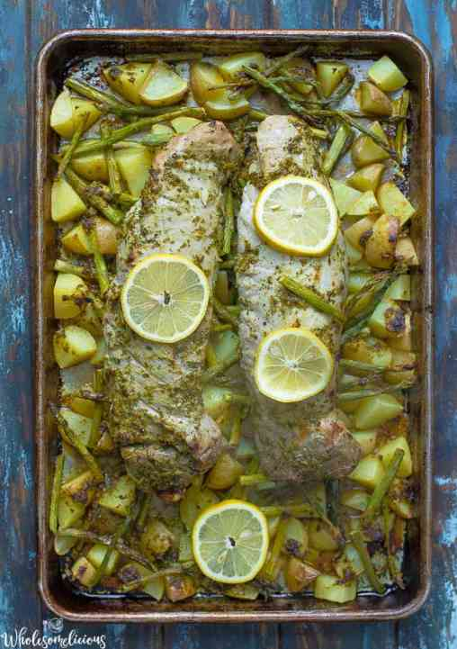 Sheet-Pan-Lemon-Pesto-Pork-Tenderloin-Vertical-Photo